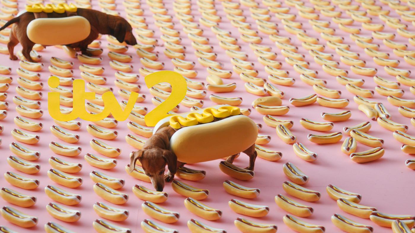 ITV2 channel brand identity hot dog