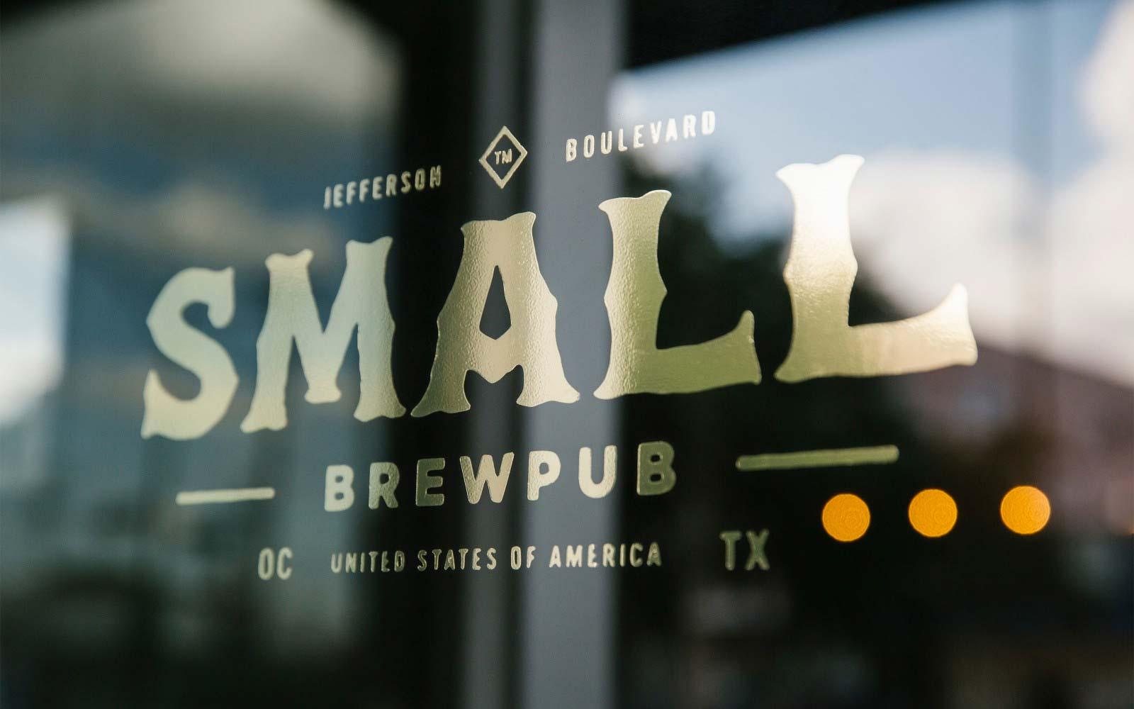 Small brew pub window sign